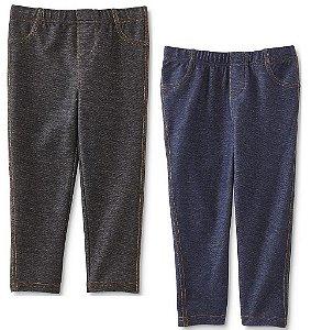 Kit 2 calças legging imita jeans preto e azul - WONDERS