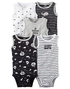 Kit body 5 peças preto e branco regata - CARTERS