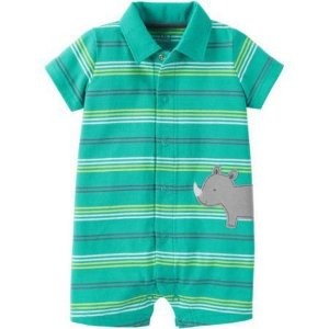 Romper verde listrado Rinoceronte Child of Mine made by CARTERS