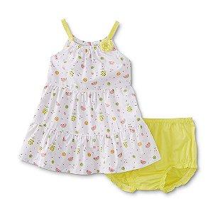 Vestido estampa frutas com tapa fralda amarelo - WONDERS