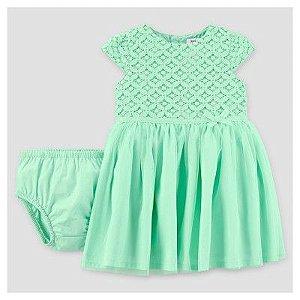 Vestido festa verde com renda e tule Just one You made by CARTERS