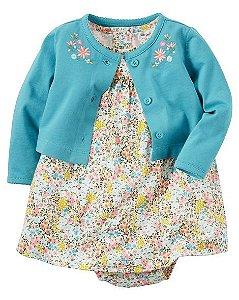 Vestido florido com bolerinho azul - CARTERS