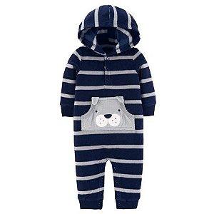 Macacão em fleece azul marinho e cinza Cachorrinho Child of Mine made by CARTERS