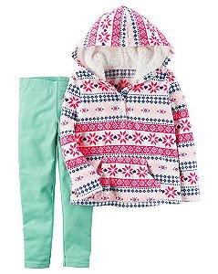Conjunto 2 peças blusa estampada em fleece e calça legging - CARTERS