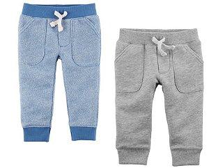 Kit 2 calças azul e cinza -CARTERS