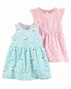 Conjunto vestido 2 peças em malha azul e rosa Unicórnio - CARTERS