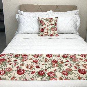 Peseira Estampada Tecido Gorgurão Floral Rosa - Profitel Decor