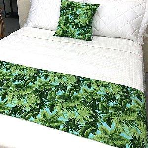 Peseira Estampada Tecido Gorgurão Floral Verde - Profitel Decor