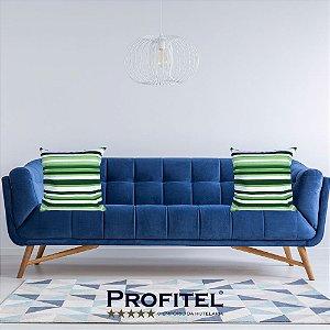 Almofada Estampada c/ Enchimento Listrada Verde 45x45cm - Profitel Decor