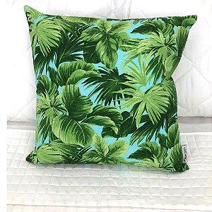 Almofada Estampada c/ Enchimento 45x45cm Floral Verde - Profitel Decor