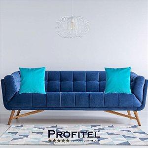 Almofada Lisa c/ Enchimento 45x45cm - Cor Azul Turquesa Profitel Decor