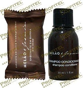 Kit 30 Sabonetes 20 g + 30 Frascos Shampoo 2x1 30 ml Melão + Jasmim - Realgems