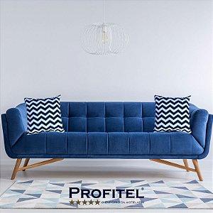 Almofada Estampada c/ Enchimento Chevron Azul 45x45cm - Profitel Decor