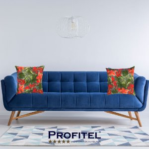 Kit 2 Capas para Almofadas Estampa Floral 45x45cm - Profitel Decor