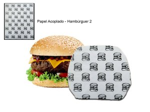 Papel acoplado 30x38 cm 500 folhas com impressão Hambúrguer II