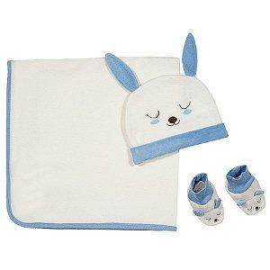 Kit Bebe 3 peças com cobertor, touca e pantufas em Soft - Tip Top