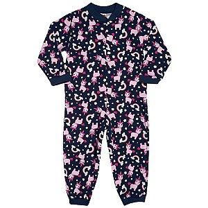 Pijama Macacão Moleton sem felpa Unicornio - Tip Top