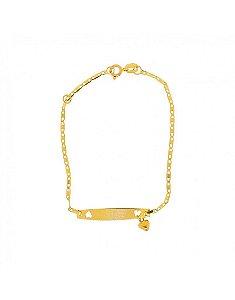 Pulseira Infantil em Ouro 18K Chapinha Gravação Piastrine com coração