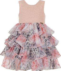 Vestido Infantil com Strass em Coral e saia Estampada com babados - Plinc Ploc