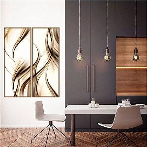 Conjunto com 02 quadros decorativos Formas Abstratas em tons neutros