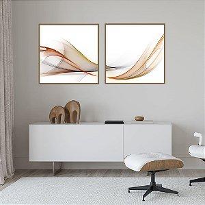Conjunto com 02 quadros decorativos Abstrato Cores