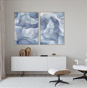Conjunto com 02 quadros decorativos Abstrato Azul