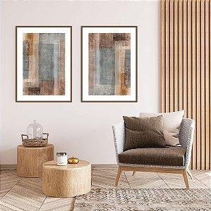 Conjunto com 02 quadros decorativos Abstrato Azul e Marrom
