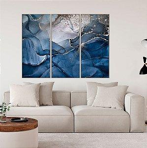 Conjunto com 03 quadros decorativos Abstrato Azul e Prata