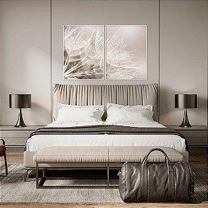 Conjunto com 02 quadros decorativos Dente-de-leão em tons suaves