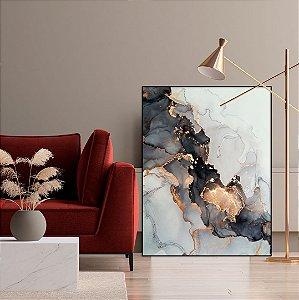 ENVIO IMEDIATO - Quadro Decorativo CANVAS Abstrato Preto, Dourado e Cobre 90x120cm (LxA) Moldura cor Preto Canaleta
