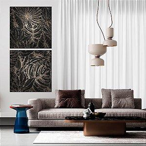 Conjunto com 02 quadros decorativos Folhas Tropicais - Artista Uillian Rius