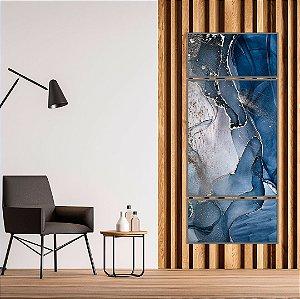 ENVIO IMEDIATO - Conjunto com 03 quadros decorativos Abstrato Azul e Prata 60x80cm e 60x30cm (LxA) Moldura cor Prata