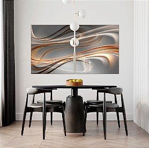 ENVIO IMEDIATO - Conjunto com 02 quadros decorativos Forma Abstrata 80x90cm (LxA) Moldura cor Inox