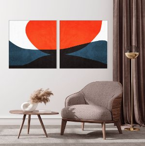 Conjunto com 02 quadros decorativos Formas Geométricas - Artista Uillian Rius