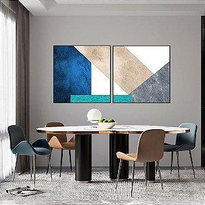 Conjunto com 02 quadros decorativos Geométricos Azul e Turquesa - Artista Uillian Rius