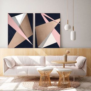 Conjunto com 02 quadros decorativos Formas Geométricas Rosê - Artista Uillian Rius