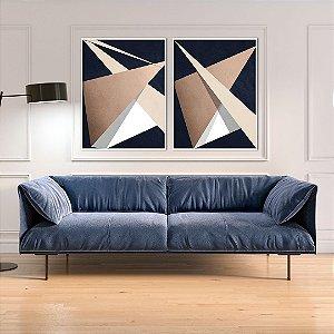 Conjunto com 02 quadros decorativos Geométricos Bege - Artista Uillian Rius