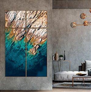 Conjunto com 04 quadros decorativos Mar