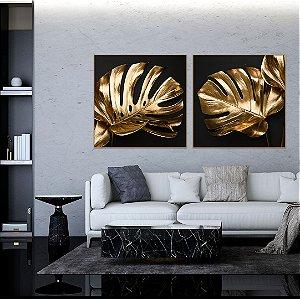 Conjunto com 02 quadros decorativos Folhas Douradas