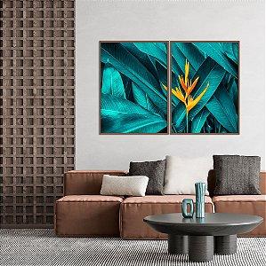 Conjunto com 02 quadros decorativos Botânicos