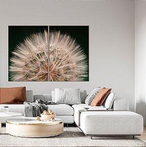 Conjunto com 02 quadros decorativos Dente-de-leão Verde
