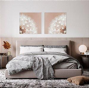 Conjunto com 02 quadros decorativos CANVAS Dente-de-leão 70x70cm (LxA) Moldura cor Branco Estilo Canaleta