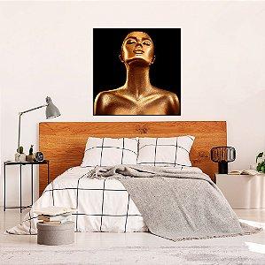 Quadro decorativo Canvas Mulher Expressão 80x80cm (LxA) Moldura cor Preto estilo Filete