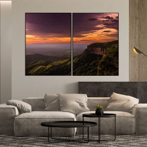 Conjunto com 02 quadros decorativos Montanhas - Artista Bruno Lacerda