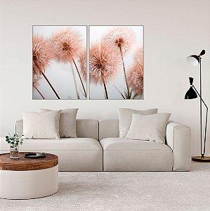 Conjunto com 02 quadros decorativos Dente-de-leão 70x90cm (LxA) Moldura Prata