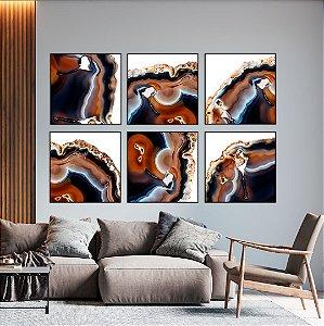 Conjunto com 06 quadros decorativos Ágata Preciosa