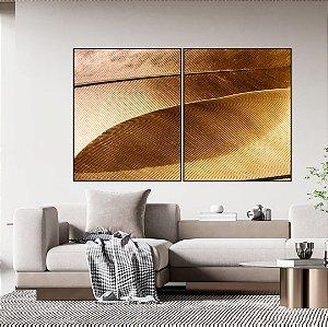 Conjunto com 02 quadros decorativos Dourado