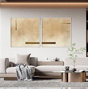 Conjunto com 02 quadros decorativos Bege e Dourado