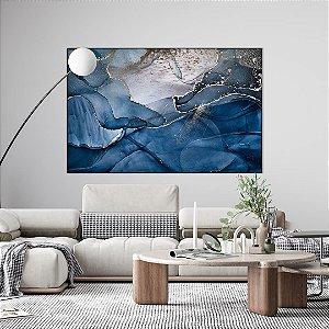 Quadro decorativo Abstrato Azul e Prata