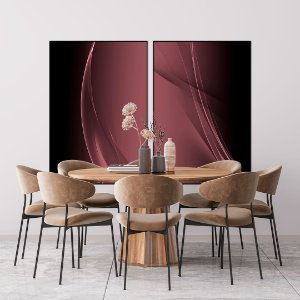 Conjunto com 02 quadros decorativos Abstrato Marsala